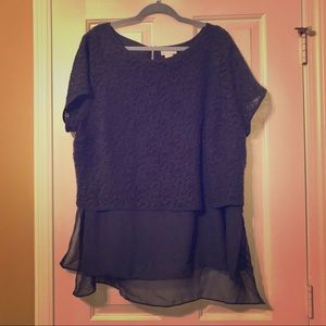 Lana Collection Blouse Sz 22/24 Dark Blue